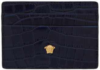 Versace Navy Croc Medusa Card Holder