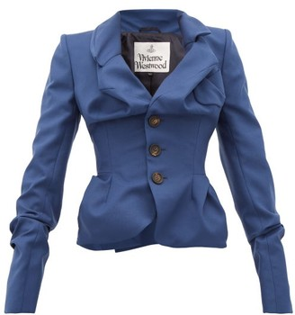Vivienne Westwood Draped Single-breasted Virgin-wool Jacket - Womens - Navy