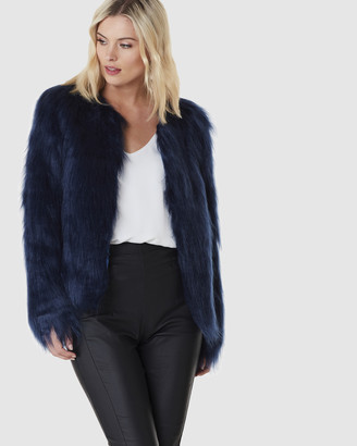 Everly Collective - Women's Blue Jackets - Marmont Faux Fur Jacket - Size One Size, S at The Iconic