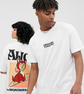 Crooked Tongues Disney Alice In Wonderland unisex oversized t-shirt in White