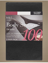 M&S Collection 2 Pair Pack 100 Denier Body SensorTM Opaque Tights