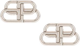 Balenciaga BB Stud Earrings in Silver | FWRD