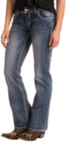 Rock & Roll Cowgirl Abstract Leather Back Pocket Detail Jeans - Low Rise, Bootcut (For Women)