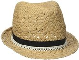 D&Y Women's Paper Braid Fedora Hat with Faux Leather Ties