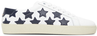 Saint Laurent White and Black Star Court Classic Sneakers