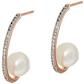 Honora Cultured Pearl 8.0mm & 0.20 cttw White Topaz Bronze Earrings