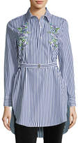 ADAM by Adam Lippes Floral-Embroidered Tunic Blouse w/Belt, Multi