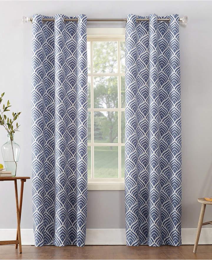 "Sun Zero Clarke 40"" X 84"" Geometric Print Textured Thermal Insulated Grommet Curtain"