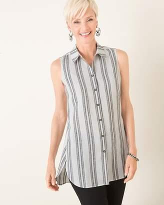 No Iron Linen Sleeveless Striped Tunic