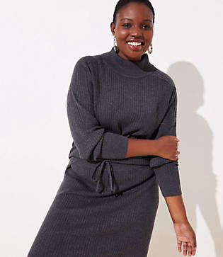 LOFT Plus Ribbed Luxe Knit Mock Neck Sweater