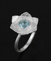 Lotus Fun Women's Rings Silver - Blue Topaz & Sterling Silver Floral Ring