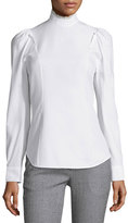 Derek Lam Mock-Neck Puff-Sleeve Blouse, White