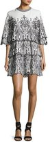 IRO Noor Tiered Embroidered Mini Dress, White/Black