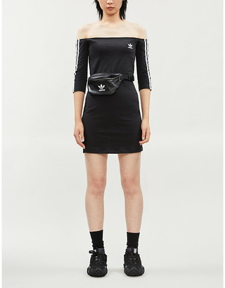 adidas Striped off-the-shoulder cotton-jersey mini dress