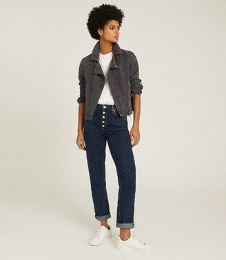 Reiss Luna - Suede Biker Jacket in Charcoal