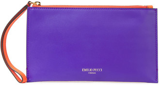Emilio Pucci Color-block Smooth And Mirrored-leather Pouch