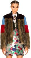 MSGM Colorblock Faux Fur Jacket