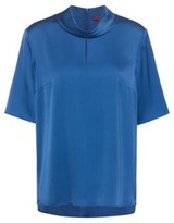HUGO Short-sleeved top in stretch silk with front slit