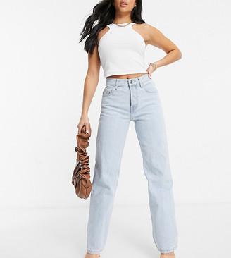ASOS DESIGN Petite mid rise '90's' straight leg jeans in lightwash
