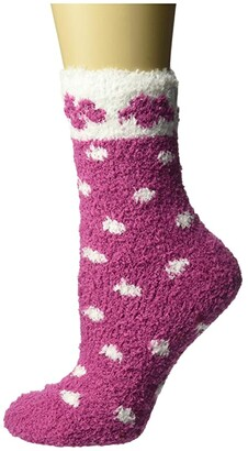 Karen Neuburger Flower Dot Gripper Sock (Carmine) Women's Crew Cut Socks Shoes