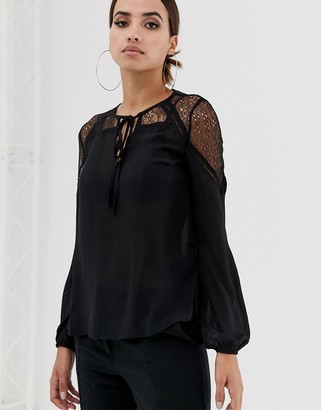 Lipsy lace insert blouse-Black
