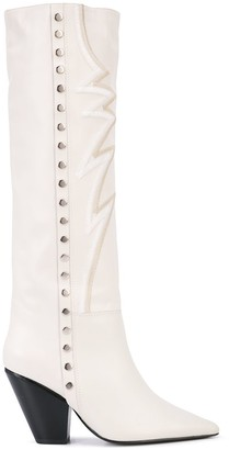 Toga Embroidered Knee Boots