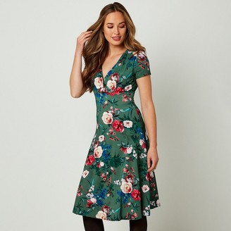 Joe Browns Floral V-Neck Dress with Short Sleeves
