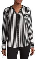 Jones New York Striped Snap-Button Blouse