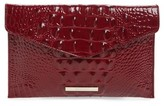 Brahmin Melbourne Croc Embossed Leather Envelope Clutch - Red