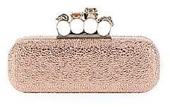 Alexander McQueen Women's Skull Four-Ring Swarovski Crystal-Embellished Leather Clutch