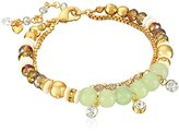 "lonna & lilly Classics"" Gold-Tone/Green Soft Beaded Bracelet"