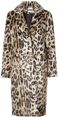 Apparis long leopard-print jacket