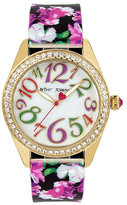 Betsey Johnson Floral Silicone Strap Watch