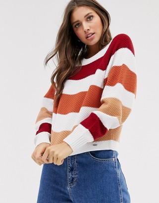 Hollister colour block stripe knit jumper-Pink