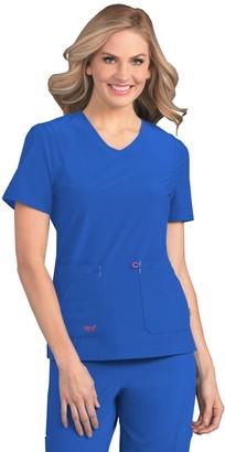 Smitten Women's 2 Pocket Contemporary Slim Fit Super Stretch V-Neck Medical Scrub Top S101034