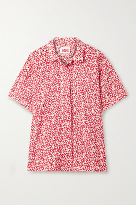 Solid & Striped Floral-print Broderie Anglaise Cotton Shirt - Tomato red