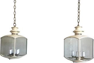 One Kings Lane Vintage Chinoiserie Pavilion Lanterns - Set of 2 - C the Light Interiors - cream/gold/transparent