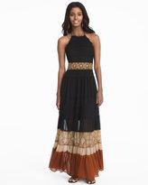 White House Black Market Colorblock Mixed Media Maxi Dress