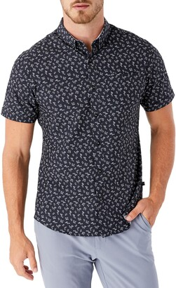 7 Diamonds Intention Floral Short Sleeve Performance Button-Down Shirt