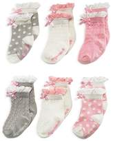 Elegant Baby Girls' Ruffled Sock Set, 6 Pack - Baby