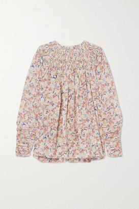 Chloé Ruched Shirred Floral-print Silk Blouse - White