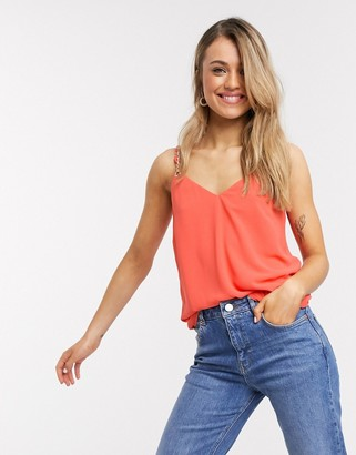 Morgan cami top with chain strap in coral