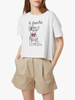French Connection Le Frenchie Slogan Cropped T-Shirt, White