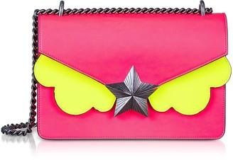 Les Jeunes Etoiles Neon Pink and Yellow Leather New Vega Medium Shoulder Bag