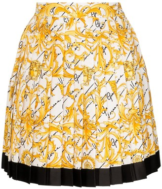 Versace Pleated Baroque-Print Silk Skirt