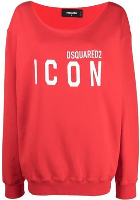DSQUARED2 Logo-Print Wide Neck Sweatshirt