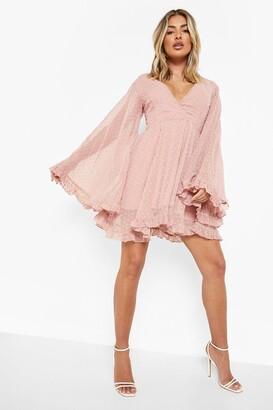 boohoo Dobby Chiffon Wide Sleeve Skater Dress