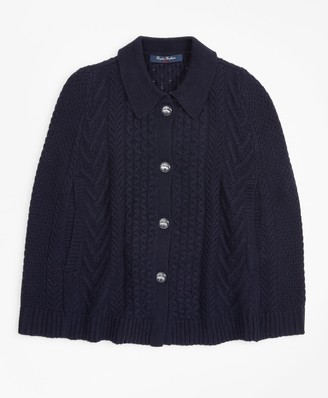 Brooks Brothers Girls Cable-Knit Poncho