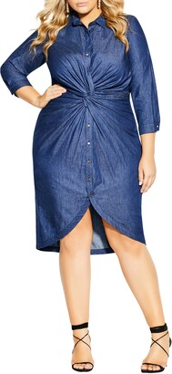 City Chic Twist Front Cotton Chambray Shirtdress