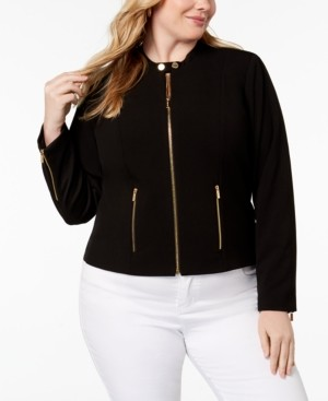 Calvin Klein Size Lux Stretch Zip-Front Jacket